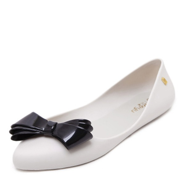 Women's PVC Flats Closed Toe With Bowknot shoes
