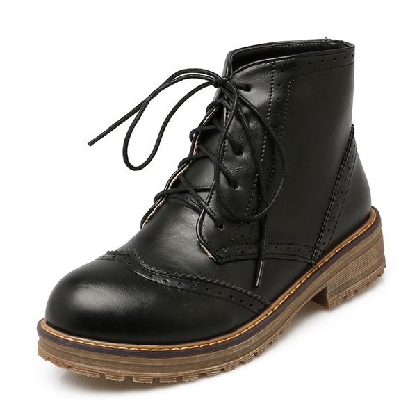 Mulheres PU Salto baixo Botas Bota no tornozelo Martin botas com Aplicação de renda sapatos