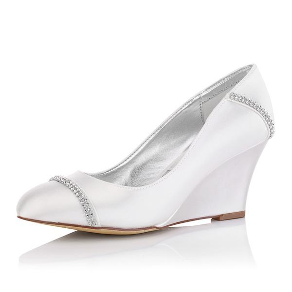 Kadın Saten Dolgu Topuk Kapalı Toe Pompalar Boyanabilir ayakkabılar Ile Yapay elmas