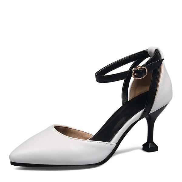 Kvinnor Konstläder Spool Heel Sandaler Pumps Stängt Toe med Spänne skor