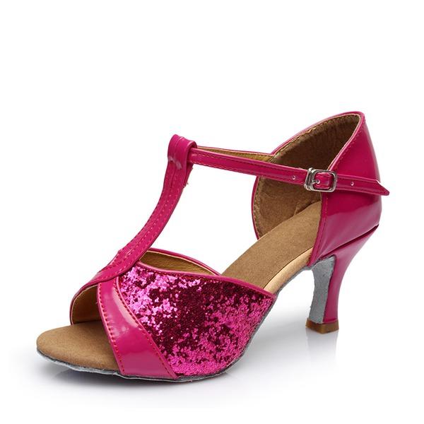Dla kobiet Skóra ekologiczna Sparkling Glitter Obcasy Sandały Latynoska Z T-Strap Hollow-out Buty do Tańca