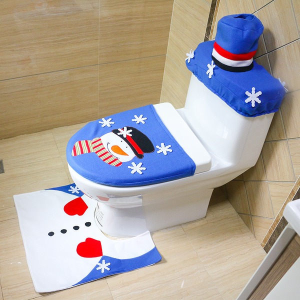 Cartoon  Style Merry Christmas& Christmas Decorations Bathroom Toilet Seat Cover