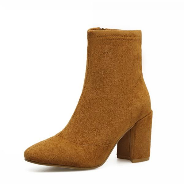 Donna Camoscio Tacco spesso Stivali Stivali alla caviglia con Cerniera scarpe