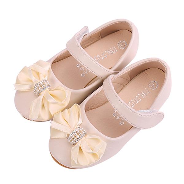 Girl's Ronde neus Closed Toe Microfiber leer Flat Heel Flats Bloemenmeisje schoenen met strik Velcro