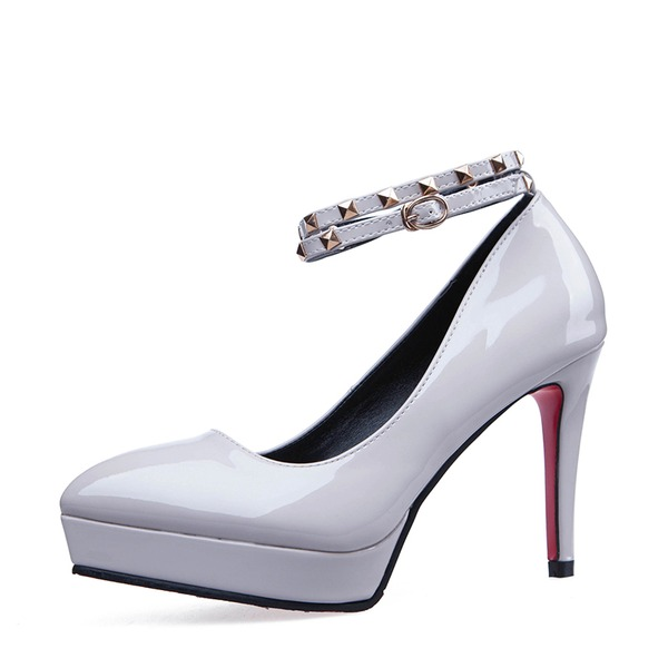 Frauen Kunstleder Kätzchen Absatz Absatzschuhe Plateauschuh Geschlossene Zehe mit Schnalle Schuhe