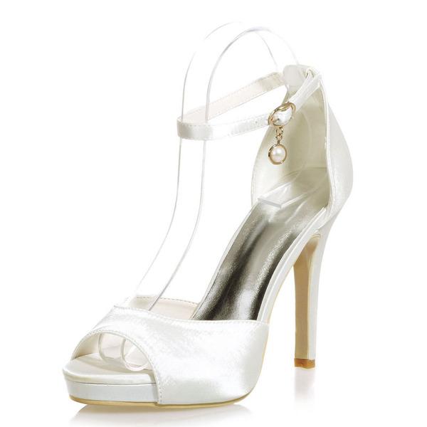Kadın Saten İnce Topuk Peep Toe Platform Sandalet Ile Toka İmitasyon İnci