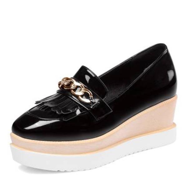Frauen Kunstleder Flache Schuhe Plateauschuh mit Quaste Schuhe