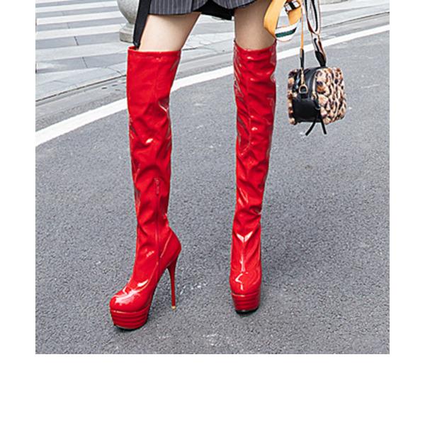 Женщины кожа Лакированная кожа Высокий тонкий каблук На каблуках Платформа Ботинки Сапоги выше колен обувь