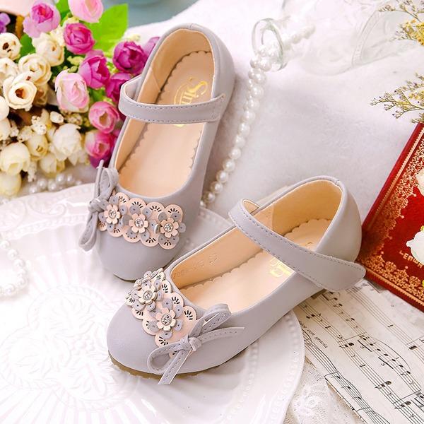 Fille de Bout fermé similicuir talon plat Chaussures plates Chaussures de fille de fleur avec Bowknot Velcro