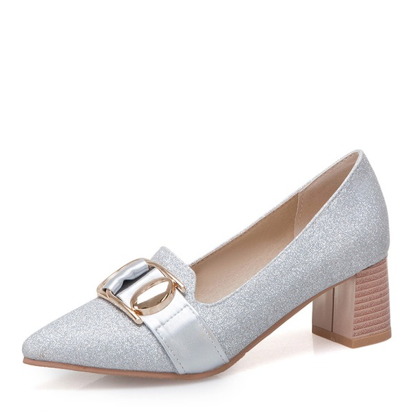 De mujer Brillo Chispeante Tacón ancho con Lentejuelas Hebilla zapatos