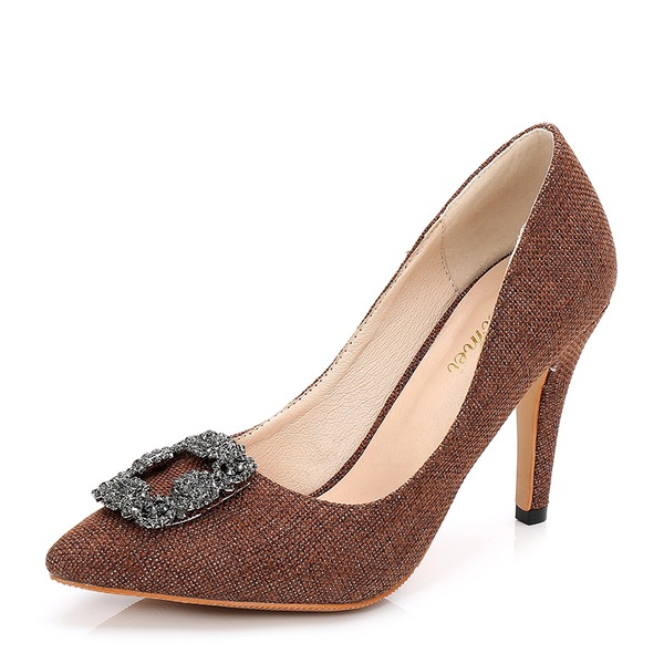 Frauen Stoff Stöckel Absatz Absatzschuhe Geschlossene Zehe mit Strass Schnalle Schuhe