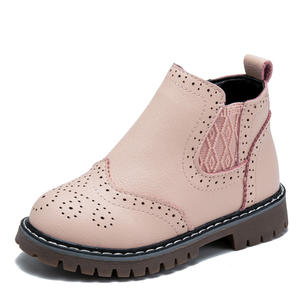 Unisex Round Toe Closed Toe Ankle Boots Leatherette Flat Heel Boots Sneakers & Athletic Flower Girl Shoes With Zipper