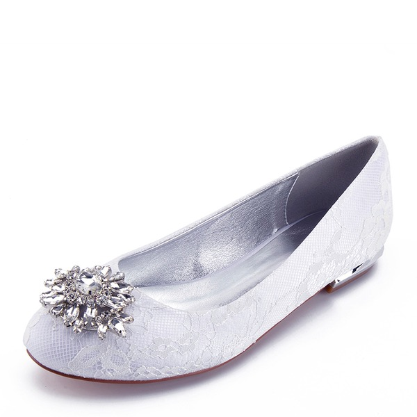 Women's Leatherette Flat Heel Closed Toe Flats With Stitching Lace Crystal