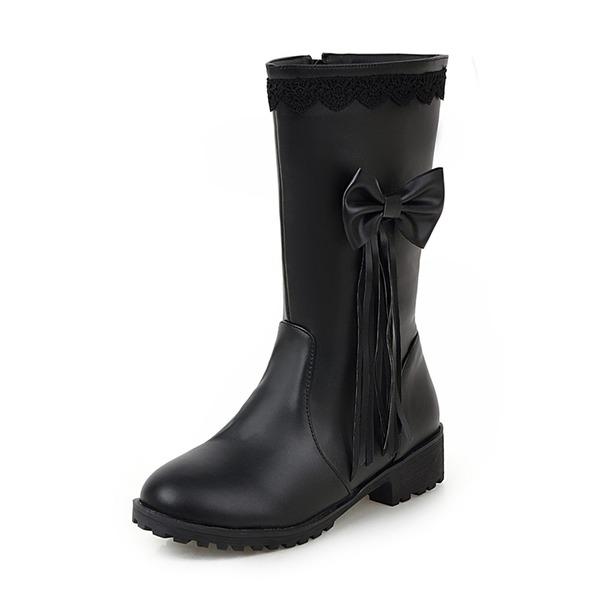 Kvinder Kunstlæder Lav Hæl Lukket Tå Støvler Mid Læggen Støvler med Bowknot Tassel sko