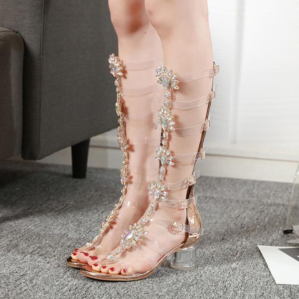 Vrouwen Kunstleer Flat Heel Flats Peep-toe Sandalen met Gesp Kristal