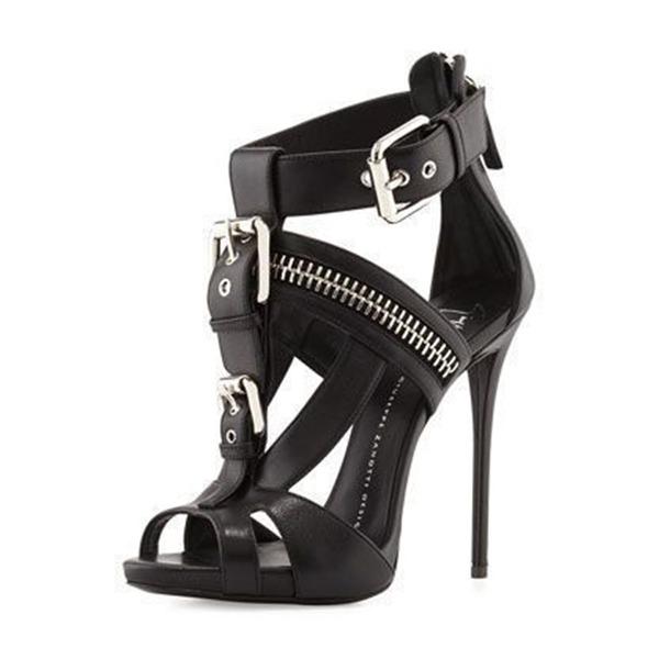 Frauen PU Stöckel Absatz Sandalen Absatzschuhe Peep Toe mit Schnalle Reißverschluss Schuhe