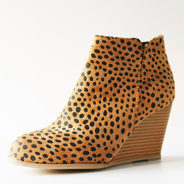 Women's Suede Wedge Heel Ankle Boots With Animal Print shoes