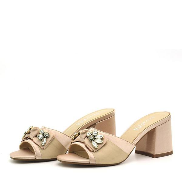 Naisten PVC Chunky heel Sandaalit Avokkaat Peep toe Kantiohihnakengät Tossut jossa Tekojalokivi Bowknot kengät