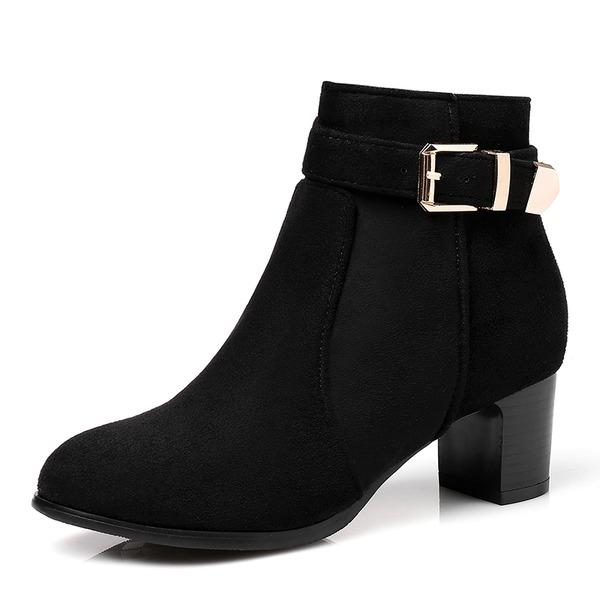 Femmes Suède Talon bottier Escarpins Bottes Bottines avec Boucle Zip chaussures