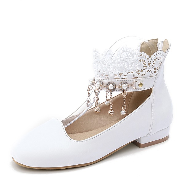 Vrouwen PU Flat Heel Flats Closed Toe met Imitatie Parel Tassel schoenen