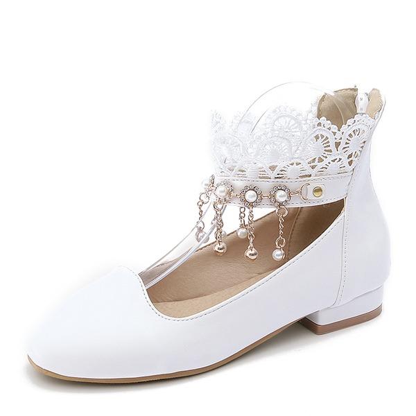 Kvinner PU Flat Hæl Flate sko Lukket Tå med Imitert Perle Tassel sko