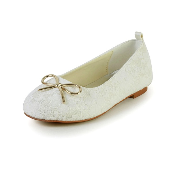 Jentas Lukket Tå Blonder Satin flat Heel Flower Girl Shoes med Bowknot