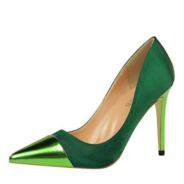 Женщины Шелковые Высокий тонкий каблук На каблуках Закрытый мыс Mary Jane с Соединение врасщеп обувь