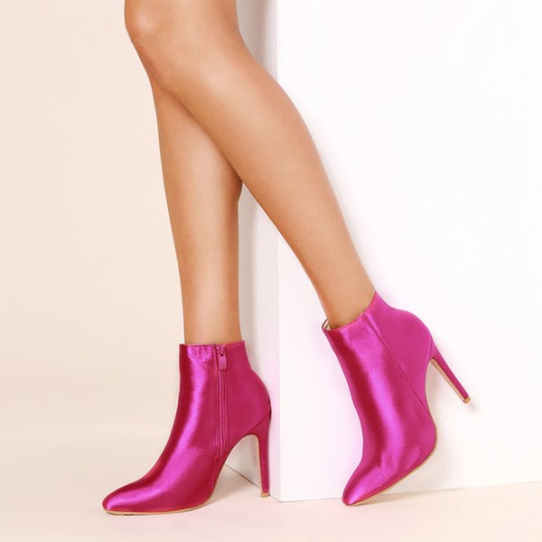 De mujer satén sedoso Tacón stilettos Salón Botas Botas longitud media con Cremallera zapatos