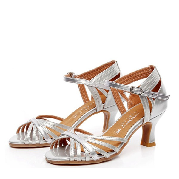 De mujer Piel Tacones Sandalias Danza latina con Tira de tobillo Zapatos de danza