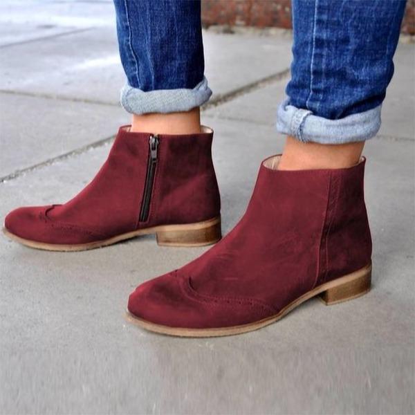 Vrouwen Suede Low Heel Laarzen met Rits schoenen