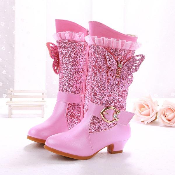 Fille de Bout fermé similicuir talon plat Bottes Escarpins Chaussures de fille de fleur avec Strass Pailletes scintillantes Zip