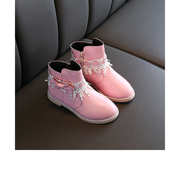 Girl's Ankle Boots Leatherette Boots With Bowknot