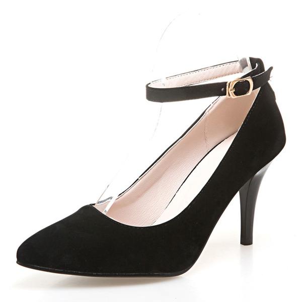 Kvinnor Mocka Stilettklack Sandaler Pumps Stängt Toe med Spänne skor