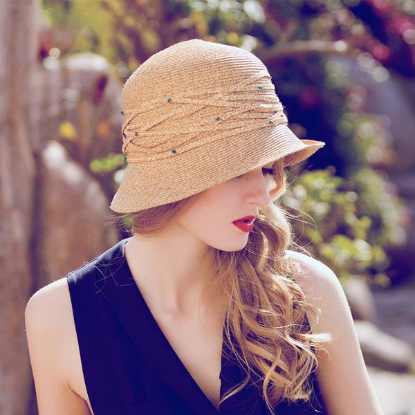 Señoras' Glamorosa/Elegante Rafia paja con Rhinestone Sombrero de paja