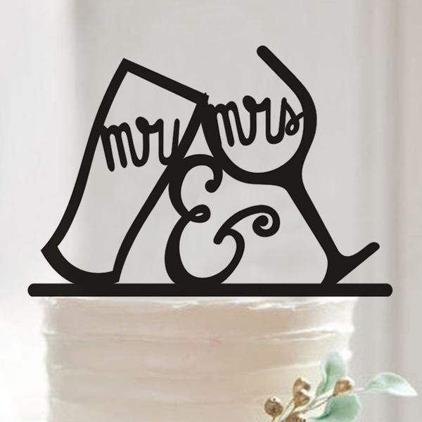Mr & Mrs Acrylique Décoration pour gâteaux (Lot de 2)