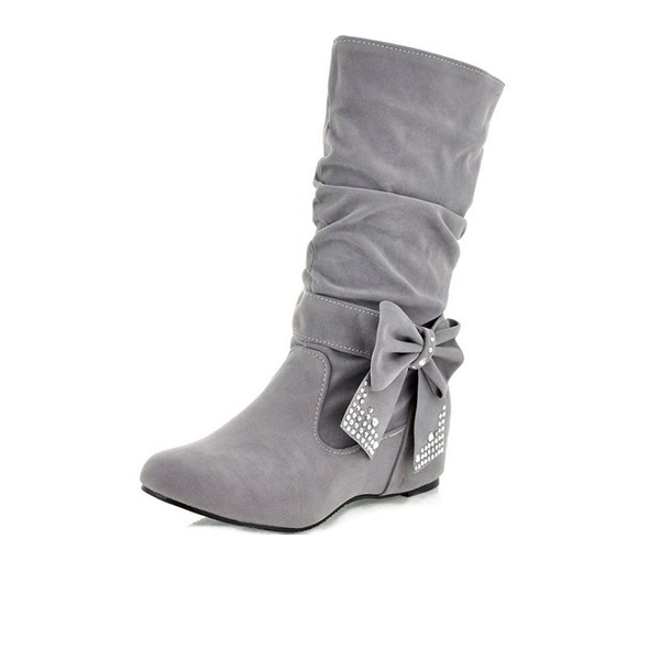 Women's Leatherette Flat Heel Flats Closed Toe Boots Mid-Calf Boots shoes