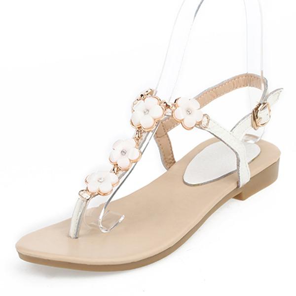 Vrouwen Echt leer Flat Heel Sandalen Flats Peep Toe Slingbacks met Gesp Bloem schoenen