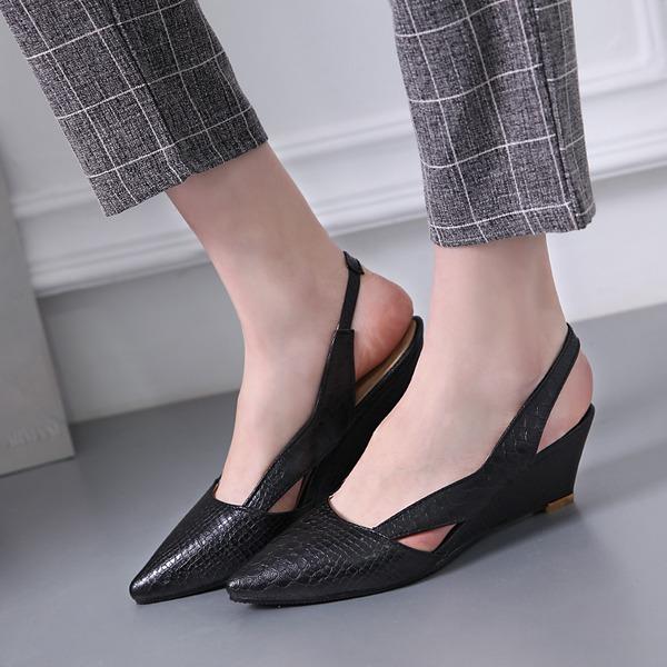 Frauen PVC Keil Absatz Absatzschuhe Keile Slingpumps Schuhe