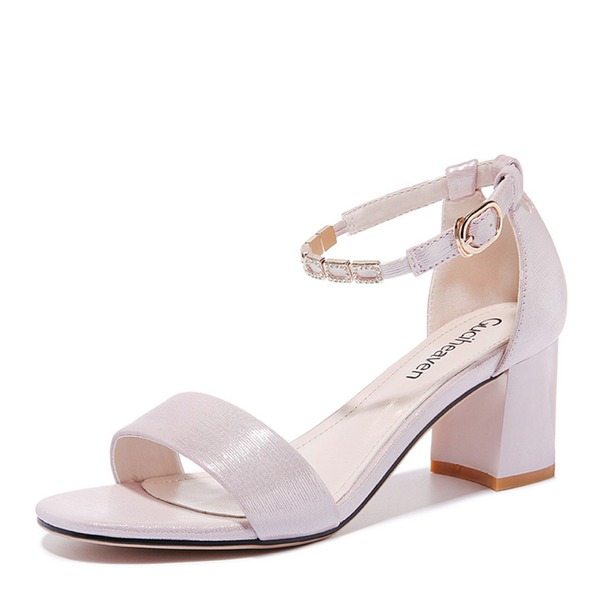 Women's Leatherette Low Heel Peep Toe Sandals With Others