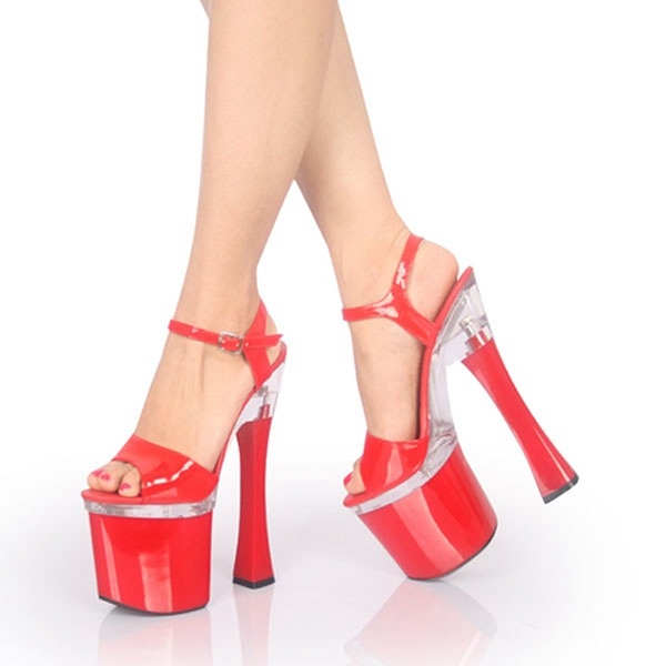 Vrouwen Patent Leather Stiletto Heel Sandalen Pumps Plateau Peep Toe Slingbacks met Gesp schoenen