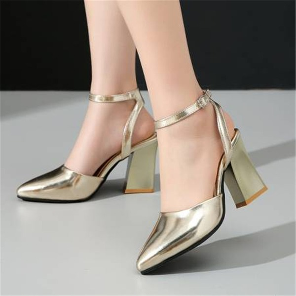 Women's Leatherette Chunky Heel Sandals Pumps Closed Toe With Sequin shoes