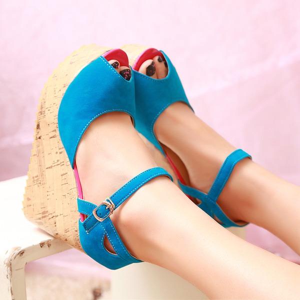 Donna Camoscio Zeppe Piattaforma scarpe