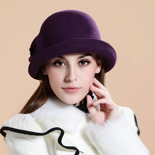Signore Elegante Lana con Fiore Cappello floscio