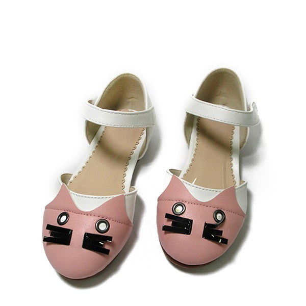 Fille de similicuir talon plat Bout fermé Chaussures plates avec Velcro