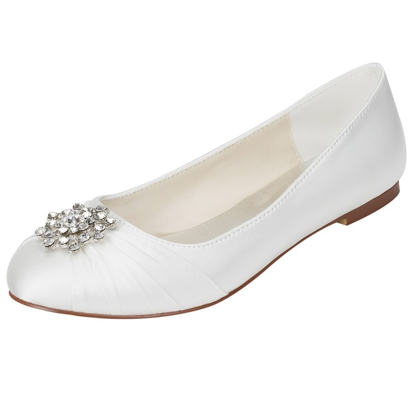 Women's Silk Like Satin Flat Heel Flats With Crystal