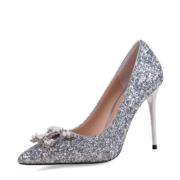 Kvinnor Glittrande Glitter Stilettklack Pumps Stängt Toe med Spänne skor