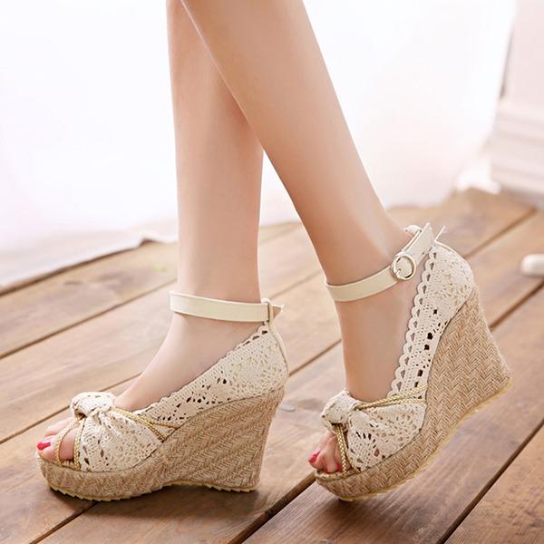 Mulheres Pano Plataforma Bombas Calços com Fivela sapatos