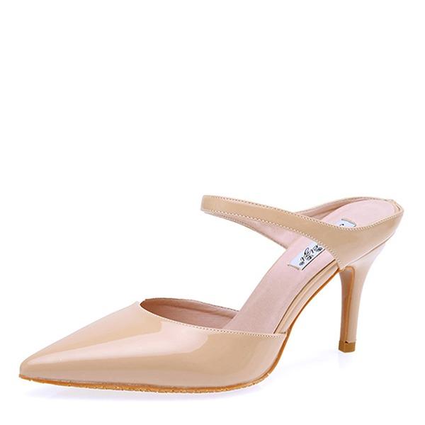 Frauen Lackleder Stöckel Absatz Sandalen Absatzschuhe Geschlossene Zehe Schuhe
