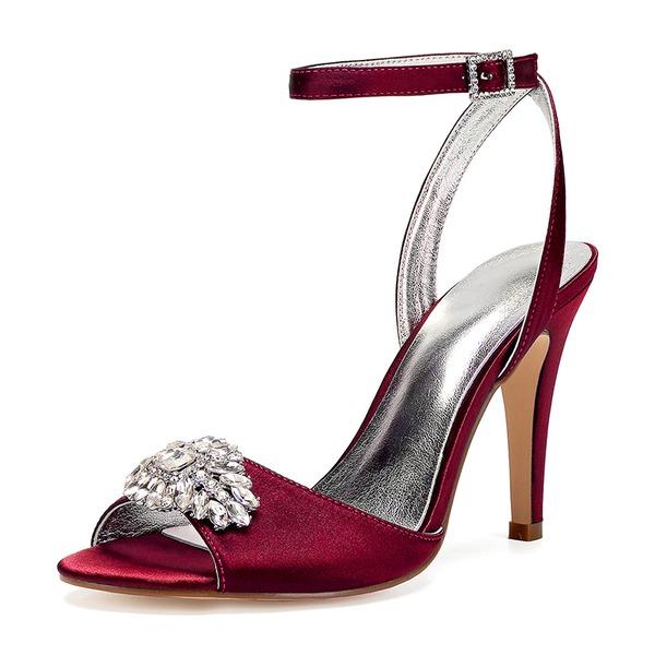 Frauen Seide wie Satin Stöckel Absatz Peep-Toe Absatzschuhe Sandalen mit Strass
