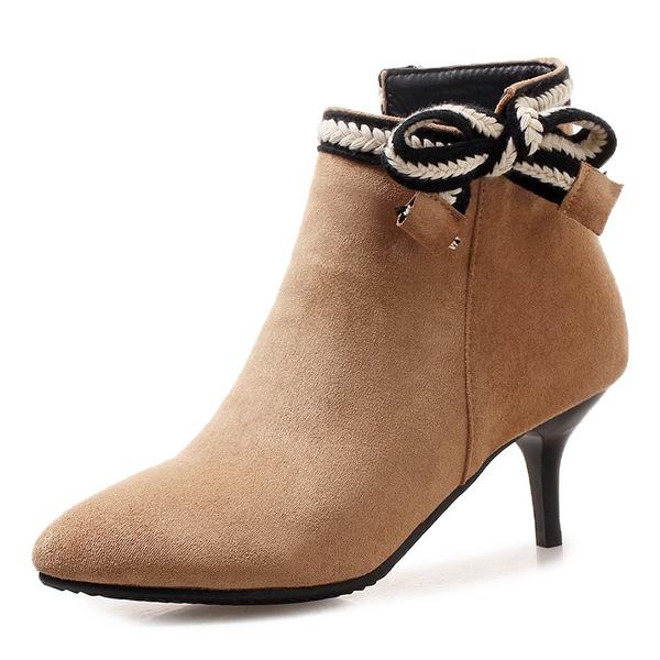Frauen Veloursleder Stöckel Absatz Absatzschuhe Stiefel Stiefelette mit Bowknot Schuhe
